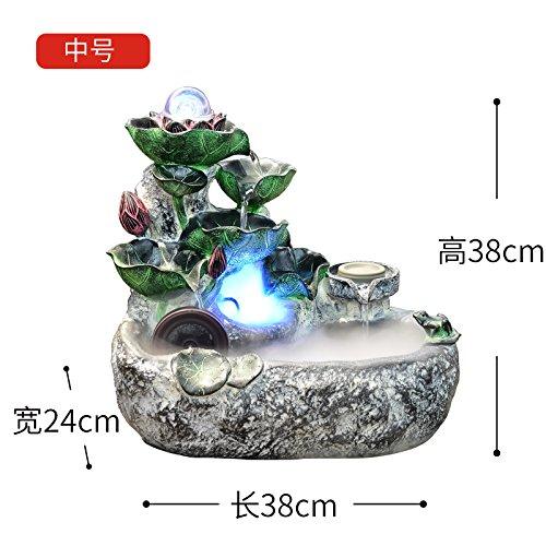 Rocalla agua acuario decoracion oficina Feng Shui suerte Rotary driblar Fountain humidificador sala de estar abriendo regalos,Medium Band nebulizador: ...