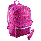 16.5 Inch Fuchsia Hot Pink TrailMaker Heart Peace Sign Design Student Schoolbook Bag Multiple Compartment Backpack with Pencil Case, Bags Central