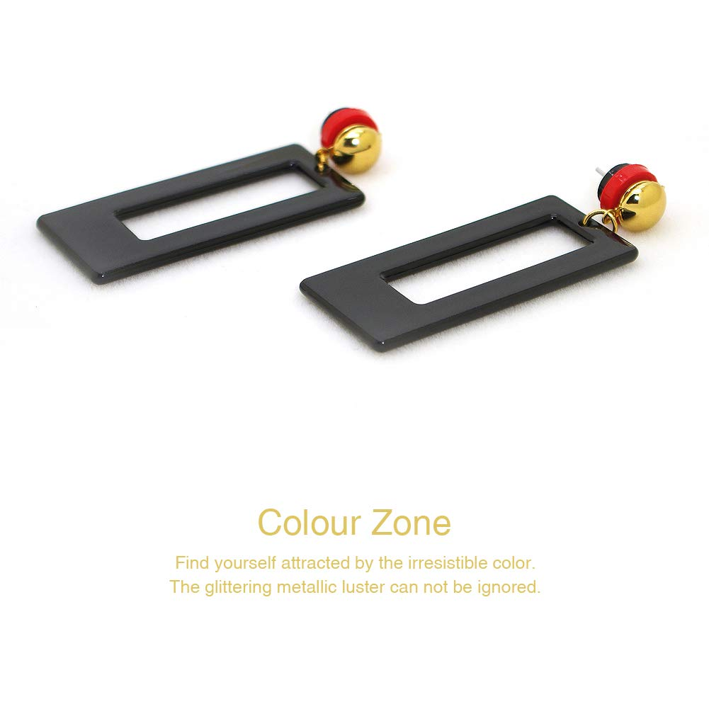 Acrylic Earrings for Women Resin Marble Texture Geometric Rectangle Gold Plated Pendant Earrings(Black)
