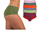 Sexy Basics Women's 6 Pack Laser Cut Seamless Invisible Boyshort Panty (L, 6 PK -Flora Solids/Prints)