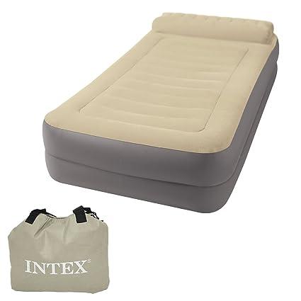 INTEX Take Along - Cama hinchable portátil con bomba eléctrica, 99 x 191 x 47