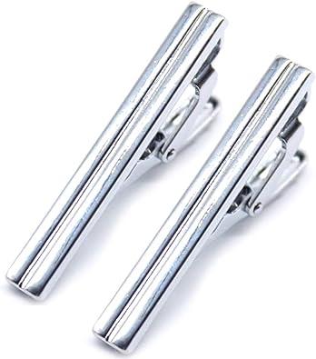 Xinlie Clips de Corbata Inoxidable Pinza Clip Pasador de Corbata Pisacorbatas Seda Tie Bar Set Metal