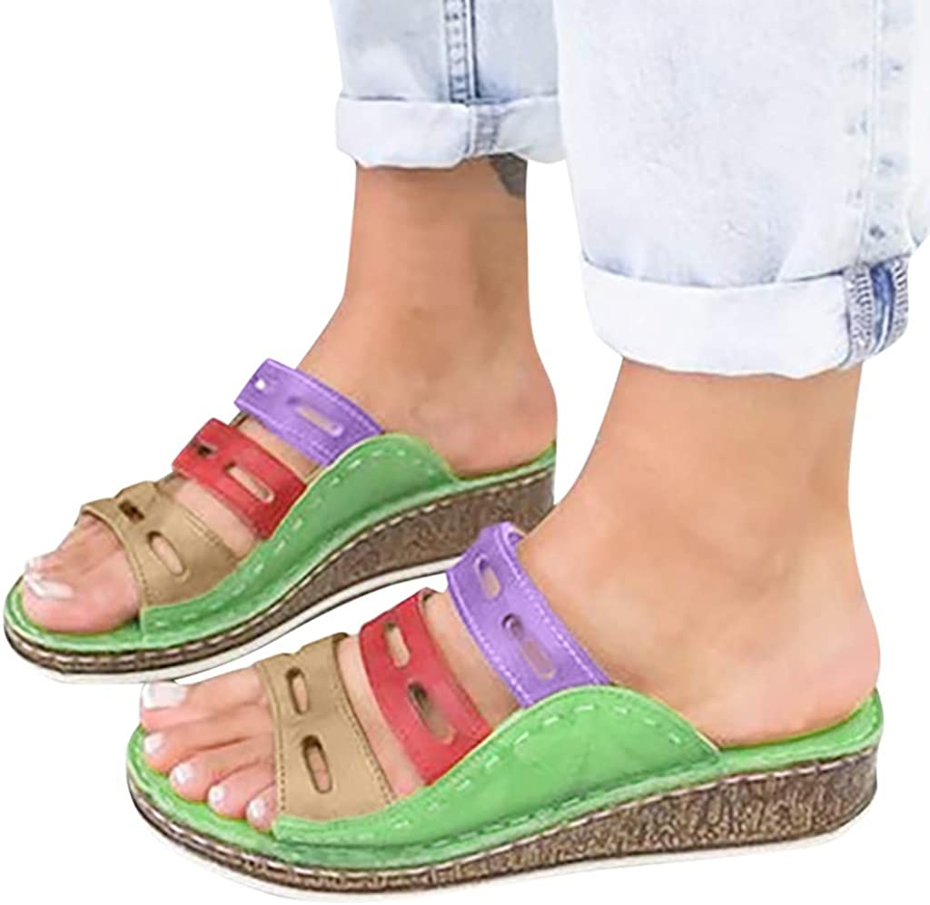Gibobby Sandals for Women Wide Width,2019 Summer Comfy Platforms Sandals Shoes Beach Travel Shoe Casual Flip Flops Slippers