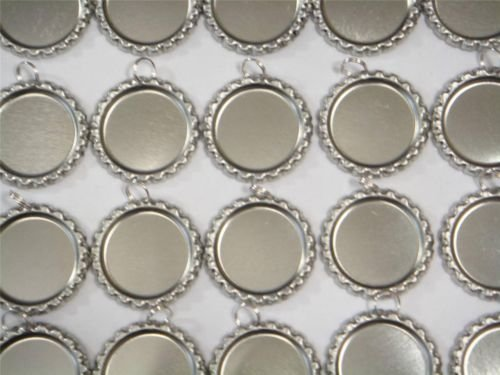 50 Flat Chrome Bottle Caps With 8mm Rings!