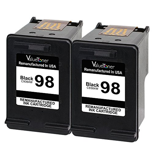 Valuetoner Remanufactured Ink Cartridge Replacement for HP 98 C9514FN C9364WN (2 Black) 2 Pack