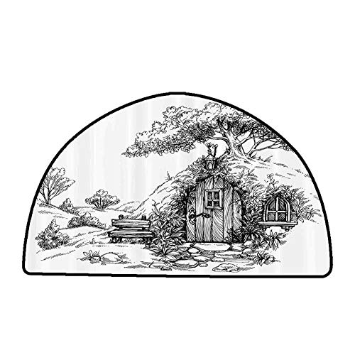 Office Chair Floor Mat Foot Pad House,Illustration of a Wooden Dwarf House in The Forest and a Tree on The Roof Print,Black and White,W47 x L31 Half Round Bedroom Rugs (Best Place To Use Dwarf Cannon)