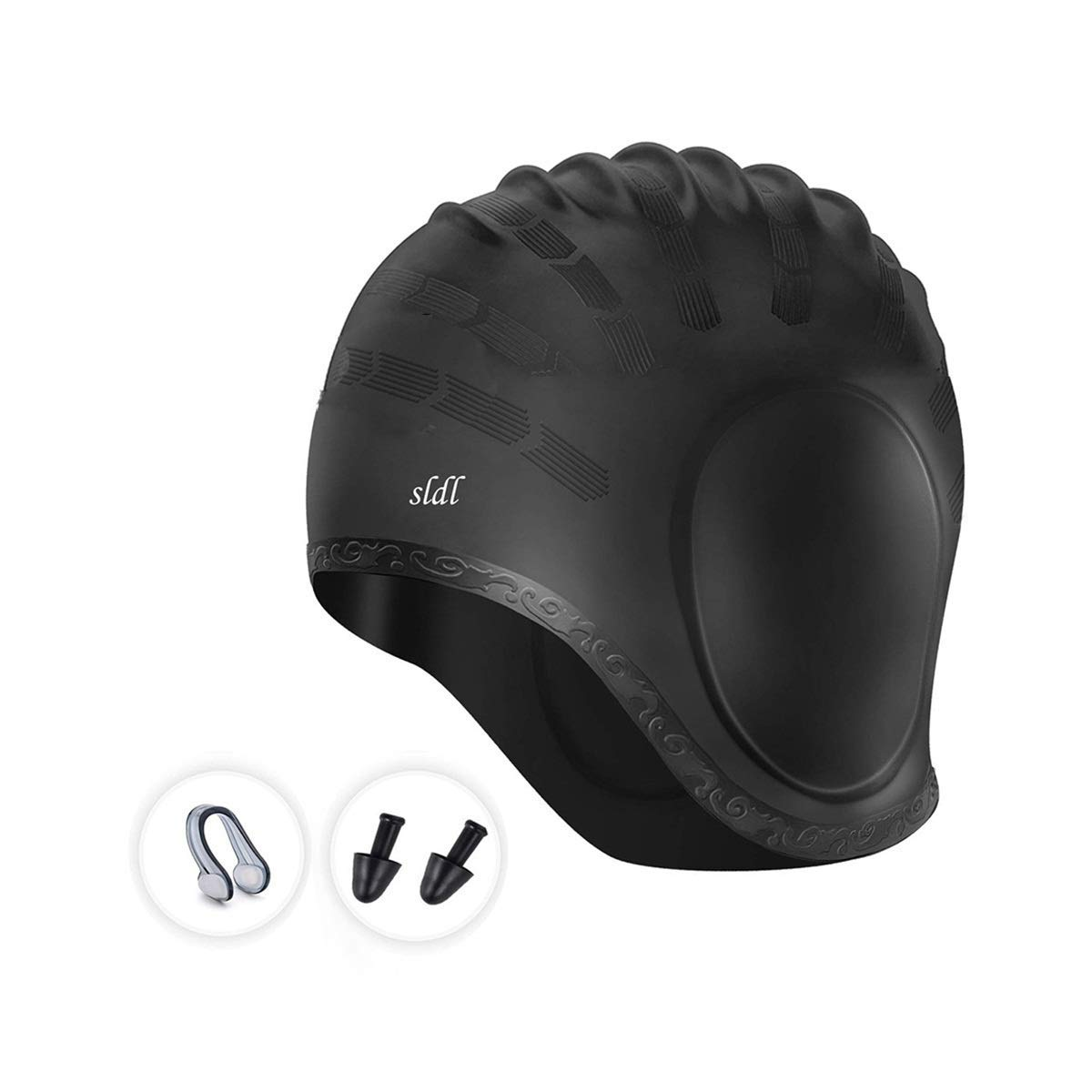 Swim Cap, Waterproof Silicone Bathing Solid Swimming Cap with 3D Ergonomic Ear Pockets,No-Slip,High Elasticity & No Deformation Swim Hat with Nose Clips,Earplugs for Long Short Hair Women Men (Black)