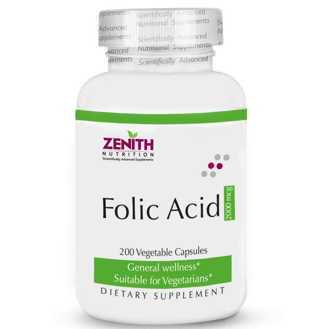 Zenith Nutrition Folic Acid 2 Mg - 200 Capsules