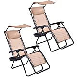 Goplus Zero Gravity Canopy Sunshade Lounge Chair Cup Holder Patio Outdoor Garden Beige (2)