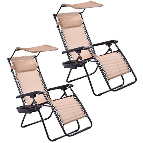 Goplus Zero Gravity Canopy Sunshade Lounge Chair Cup Holder Patio Outdoor Garden Beige (2) by Goplus