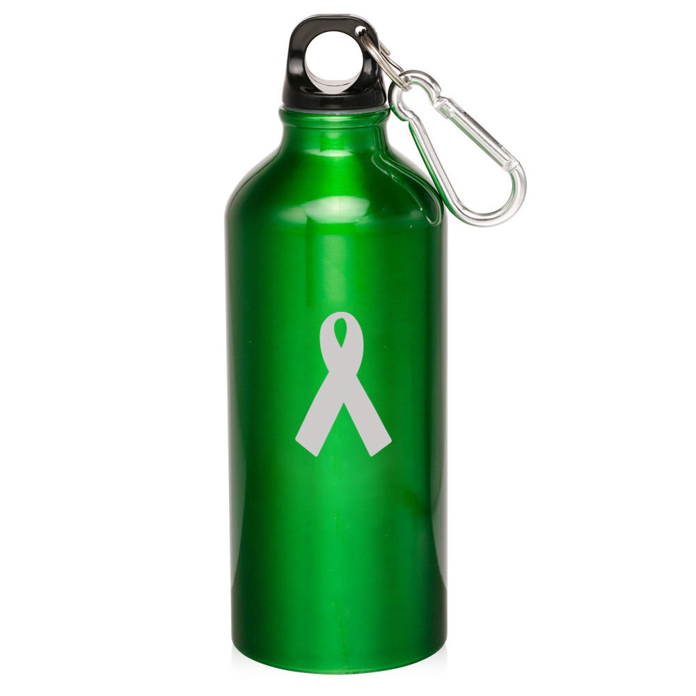 Green Awarenessリボン20ozアルミニウムスポーツウォーターボトルCanteenカラビナがん啓発リボン B0727M2SK9