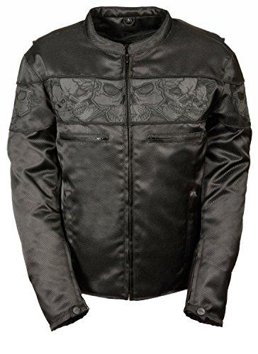 Mens Reflective Skull Leather - Mens Reflective Skulls Textile Jacket, Black Size L