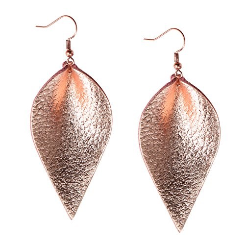Rose Gold Leather Leaf Earrings Teardrop Dangle Metallic Bohemian Leather Diffuser Earrings for Women ()