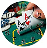 EasySells 10.5'' Pair of ACES - Printed Poker Clock - Large 10.5'' Wall Clock - Home Décor Clock
