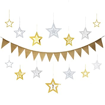elhpbwhty 14pcs merry christmas happy new year birthday congratulations burlap banner diy flags kit with silver