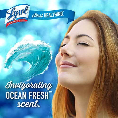 """019200779258 - LYSOL Brand 77925CT Ocean Fresh Scent Disinfecting Wipes, 7"""" x 8"""", White (Pack of 6) carousel main 4"""