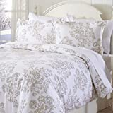 Great Bay Home Extra Soft Printed Flannel Duvet Cover with Button Closure. 100% Turkish Cotton 3-Piece Set with Pillow Shams. Belle Collection (Full/Queen, Toile - Taupe)