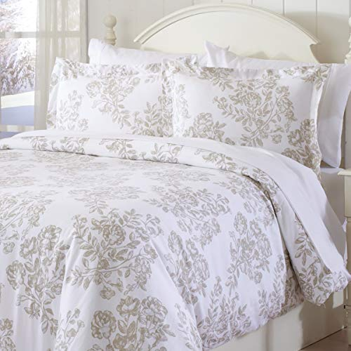 Great Bay Home Extra Soft Printed Flannel Duvet Cover with Button Closure. 100% Turkish Cotton 3-Piece Set with Pillow Shams. Belle Collection (Full/Queen, Toile - Taupe) - Flannel Duvet Cover Set