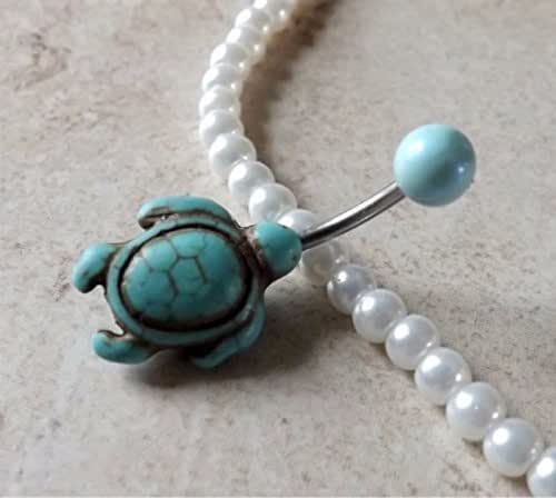 Amazon.com: Turquoise Turtle Belly Ring Navel Ring Mint