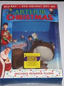 "Limited Edition Holiday Gift Set Arthur Christmas Blu-ray + DVD + 5"" Reindeer Plush Doll"