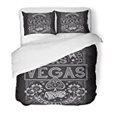 SanChic Duvet Cover Set Ace Vintage Gamble Casino Las Vegas Tee Graphics Spade Poker City Decorative Bedding Set with 2 Pillow Shams Full/Queen Size