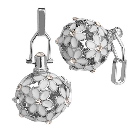 Linsoir Beads 2 Sets White Daisy Flower Design Harmony Ball Charms Pendant Maternity Angel Caller Chime Jewelry Baby Shower Gift