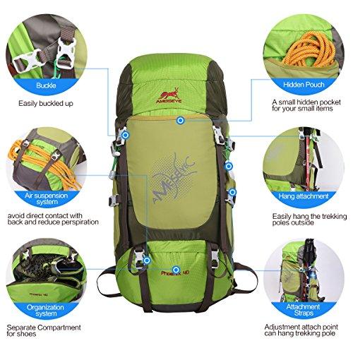 Eshow 40L Mochilas de Senderismo al Aire Libre de Nailon Impermeable Mochilas Montaña Mochila de Viaje Para Hombre y Mujer Color Rojo Oscuro Verde