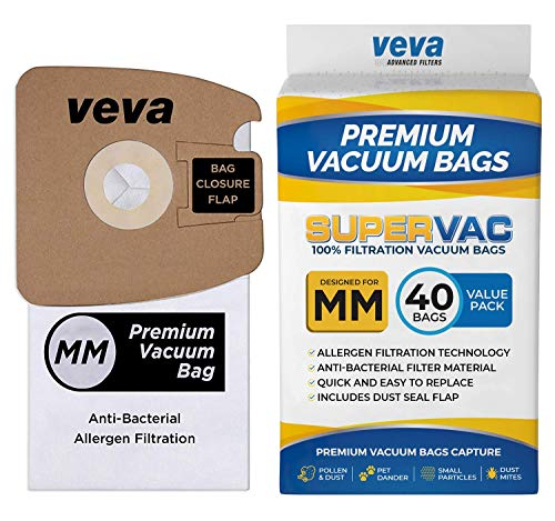 VEVA 40 Pack Premium SuperVac Replacement Vacuum Bags Type MM Compatible with Eureka Mighty Mite Canister Vacuum Cleaners Style MM Model 3670, 3680, 60295A, 60295B & 60297A