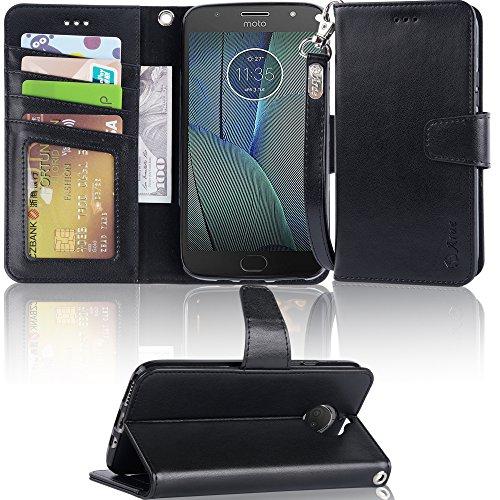 Moto G5S Plus Case,Moto G5S Plus Wallet Case,Arae [Wrist Strap] Flip Folio [Kickstand Feature] PU Leather Wallet case with ID&Credit Card Pockets for Moto G5S Plus (Not for G5S,Not for G5 Plus),Black