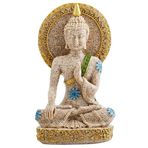 rockcloud Sandstone Buddha Statue Sculpture Hand Carved Fengshui Vintage Figurine Craft Home Decor -