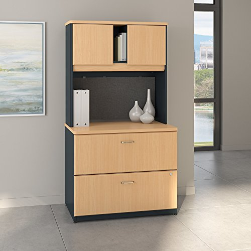 Bush Business Furniture Series A 36W Lateral File Cabinet with Hutch in Beech and Slate