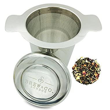 Loose Tea Strainer & Filter (Stainless Steel) with Coaster Lid - Easy to Clean Extra Fine Mesh Infuser - Double Handled Steeper - Brew In Cups, Mugs & Teapots