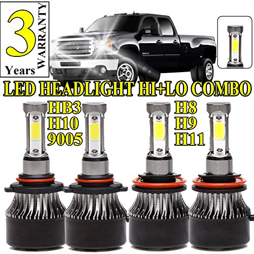 (LED Headlight Bulbs For GMC Sierra 1500/2500HD/3500HD (2007-2013), 9005 HB3 High Beam and H8/H9/H11 Low Beam Combo Set High Power 480W 6000K Cool White 48000LM Super Bright Headlamp Replacement )