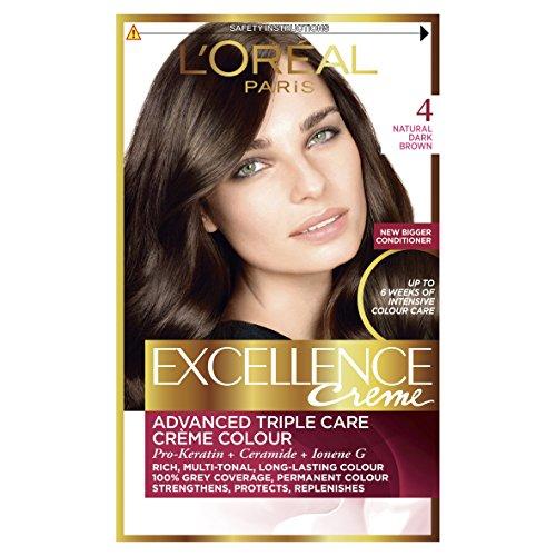 L'Oreal Paris Excellence 4 Natural Dark Brown Hair Dye, Pack of 3