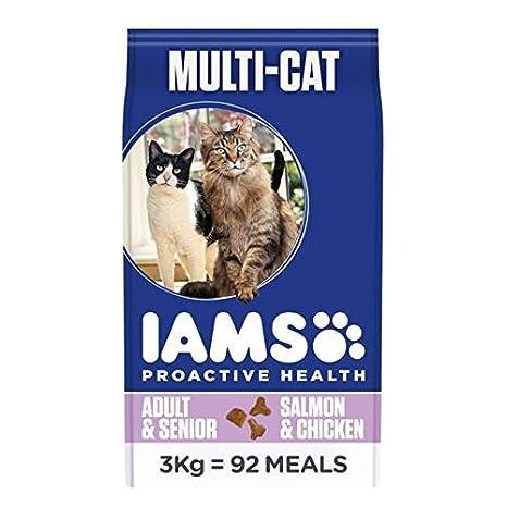 IAMS Adult Comida para Gatos Seca Multicat Pollo y 3 kg de Salmón: Amazon.es: Jardín