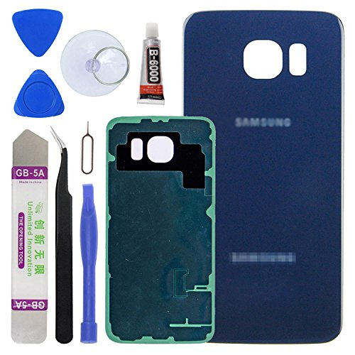 LUVSS New Back Glass Replacement [Samsung Galaxy S6] G920 (All Carriers) Rear Cover Glass Panel Case Door Housing Opening Tools Kit (Blue)