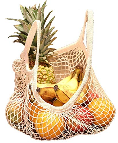 Reusable Grocery Bags Cotton Net Shopping Tote Ecology Market String Bag Mesh Beach Bags Produce Vegetable Bags 3 ()