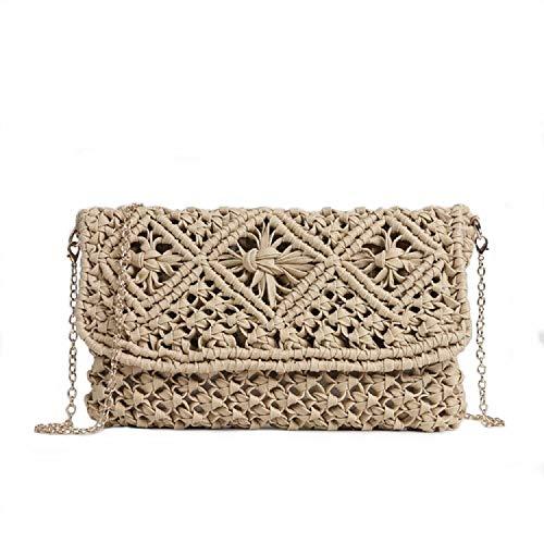 Aiello's Story Women Natural Straw Hand-woven Handbag Envelope Clutch Chic Straw Purse Summer Beach Hasp Wallet (light-khaki) ()