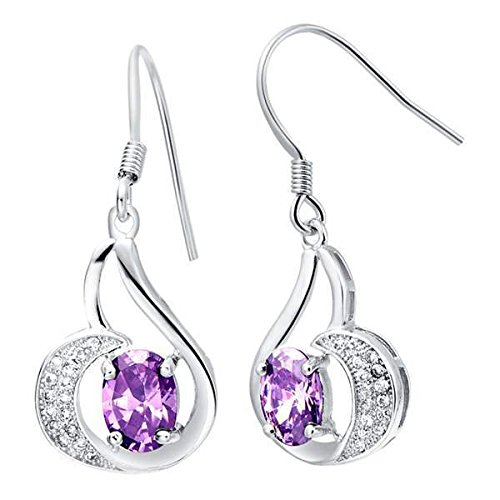 usongs 18k Platinum Micro Pave Austrian crystal earrings silver-plated 925 silver purple bridal jewelry -