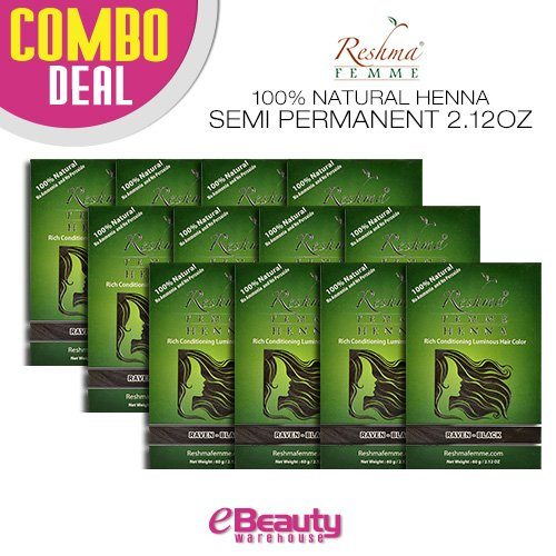 12 Pcs Combo Deal Reshma Henna Semi Permanent Hair Color 2.12oz (Raven-Black) by Reshma