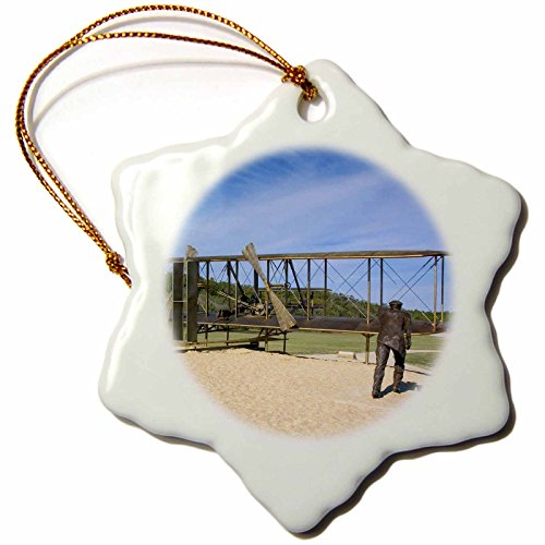 Memorial Wright Brothers Flight First (3dRose orn_93243_1 Wright Brothers National Monument North Carolina US34 DFR0013 David R. Frazier Snowflake Porcelain Ornament, 3-Inch)
