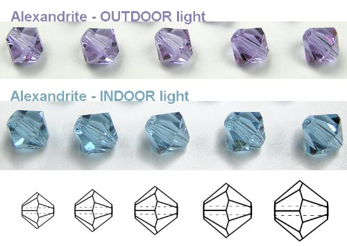 6mm Alexandrite, Czech MC Rondell Bead (Bicone, Diamond Shape), 12 pieces