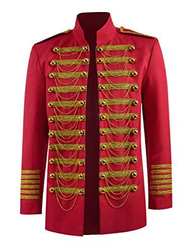 Men Marching Band Costume Luxury Vintage Slim Fit Red Jacket (Red, US Men-L)]()