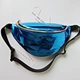 Waist Packs By Mounchain Women's Shiny Laser Holographic Waist Fanny Packs with Adjustable Waistband-Smartphone Money Coins Keys Passport Holder Blue