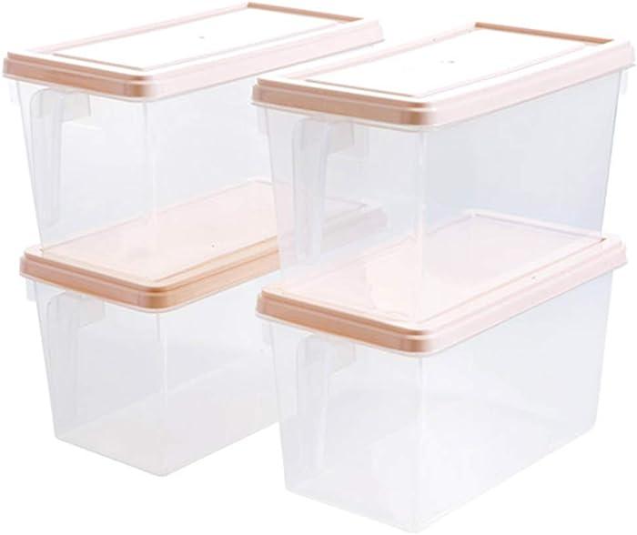 Box Kitchen Storage Box Food Storage Container Plastic Transparent Belt Handle Can Be Superimposed - Fruit/Vegetable Refrigerator Refrigerated Storage 4 Sets - Moisture/Dust +