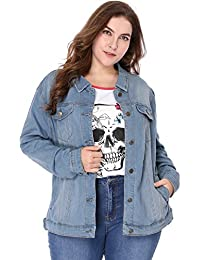 dec69bba35c Women s Plus Size Button Down Washed Denim Jacket with Chest Flap Pocket