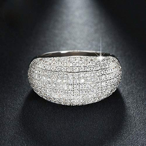 Mink Monk Shiny Big Full Crystal Tail Rings for Women Silver Color Wedding Engagement Party Jewelry Valentine Gifts