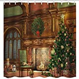 BROSHAN Christmas Decor Shower Curtain Fabric, Christmas Eve Season Fireplace Print, Waterproof Fabric Bath Curtains Shower, Xmas Bathroom Accessories, Brown, Green,Red 72 x 72 inch (Picture 1)