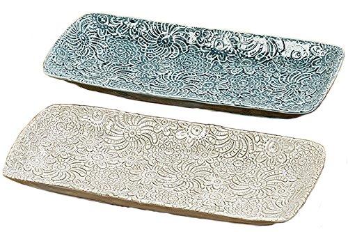 unbekant Juego de 2 Platos Decorativos Porcelena Azul//Blanco L 28 cm Decoracion Hogar