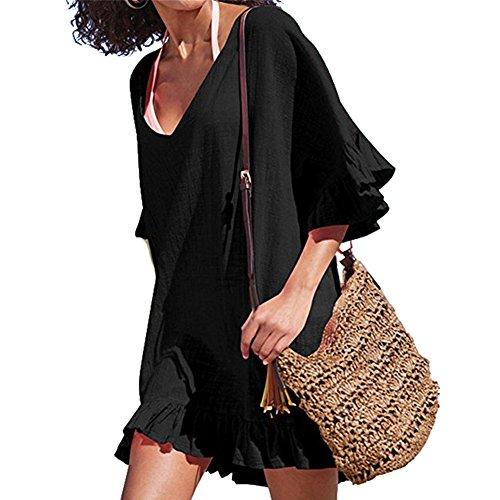 DaiLiWei Cover UPS Bathing Suit Cotton Swimwear Beach Coverups For Women Ruffle Summer Dress Swimsuit, Black 1, Medium